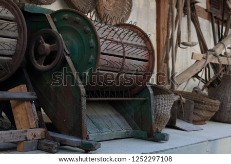 Vintage equipment for agriculture ; thresher,threshing machine