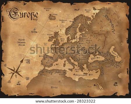 Vintage European Map Vintage Europe Map Horizontal