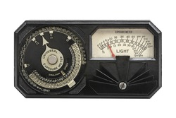 Vintage Exposure meter. Old handheld photometer used to calculate the proper adjustments to be used on cameras based on the amount of light available.