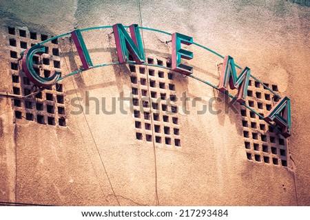 vintage facade of old cinema in ...