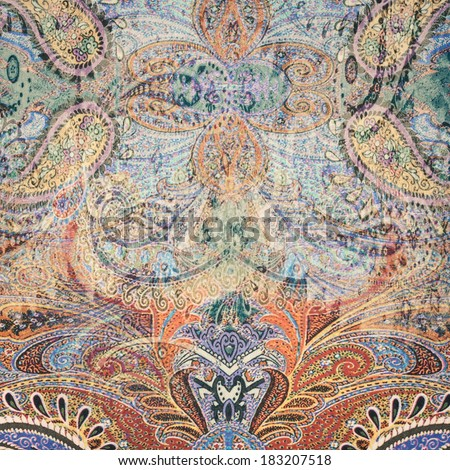 Vintage faded paisley fabric texture/background #183207518