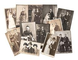 Vintage family and wedding photos. Nostalgic sentimental pictures on white background