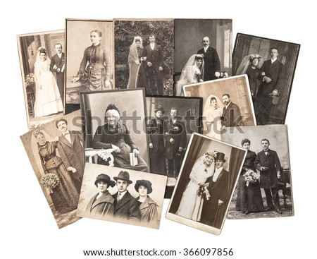 Vintage family and wedding photos. Nostalgic sentimental pictures on white background