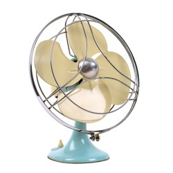vintage fan isolated over white