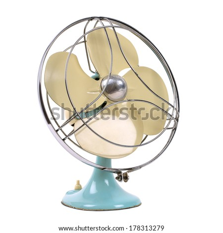 vintage fan isolated over white #178313279