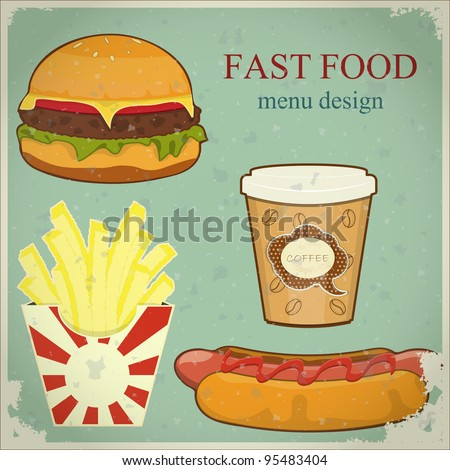 Vintage Fast Food Menu - the food on blue grunge background - JPEG version