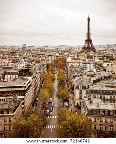 Vintage feel Paris skyline with view of the Eiffel Tower. - stock photo