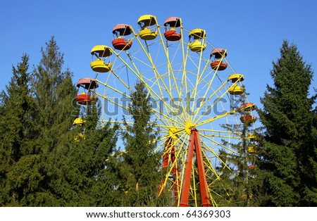 Vintage Ferris wheel in an amusement park