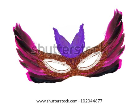 Vintage Festive Purple / Pink / Black Feathers with Gold sequin dress mask isolated on white background