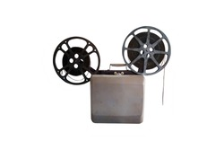 Vintage film movie projector isolated on a white background with clipping path.
