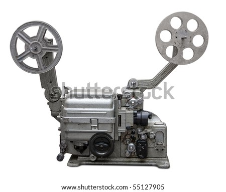 Vintage film projector. Clipping path included.