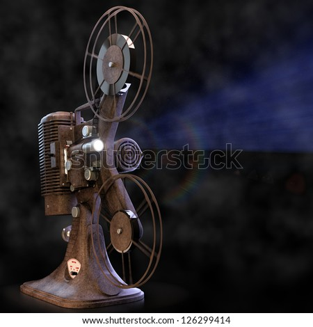 Vintage film projector with light.