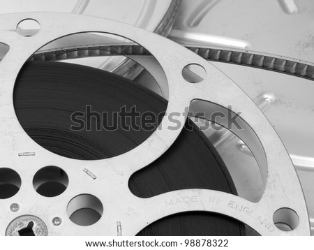 Vintage film reel with case - stock photo