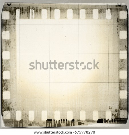 vintage film strip frame on old ...