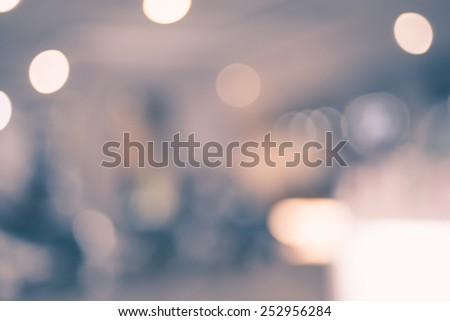 Vintage filter Blurred background : Colorful store blur background with bokeh