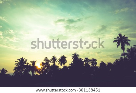vintage filter : silhouette landscape of coconut tree ,tropical sunset scene in Thailand.