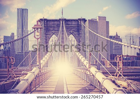 Vintage filtered picture of Brooklyn Bridge in New York City.