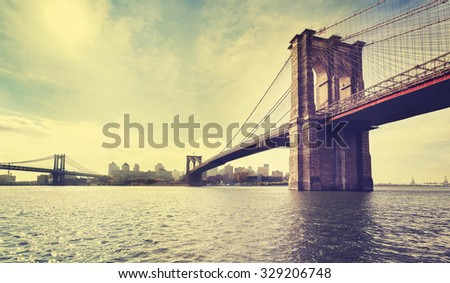 Vintage filtered picture of Brooklyn Bridge in New York City, USA.