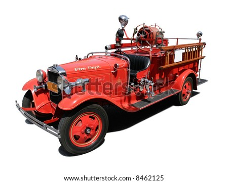 Vintage Fire Engine isolated on pure white background