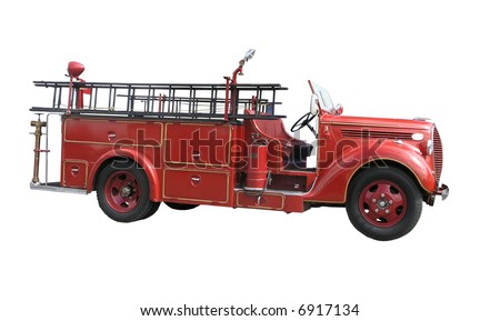 vintage fire truck isolated with clipping path