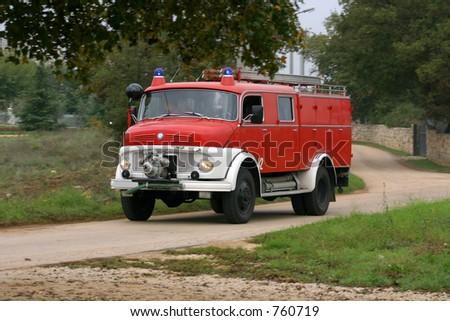 vintage firebrigade truck