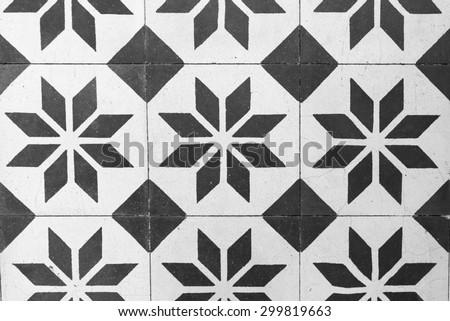 Vintage Floor Tile in Black and White
