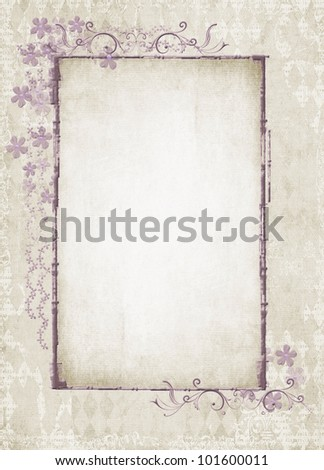 vintage floral frame on textured background