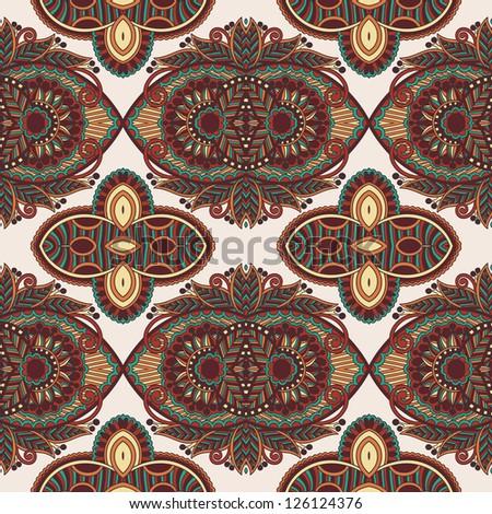 vintage floral paisley seamless pattern, raster version