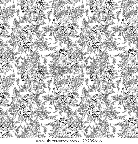 vintage floral pattern white lily, isolated on white background raster
