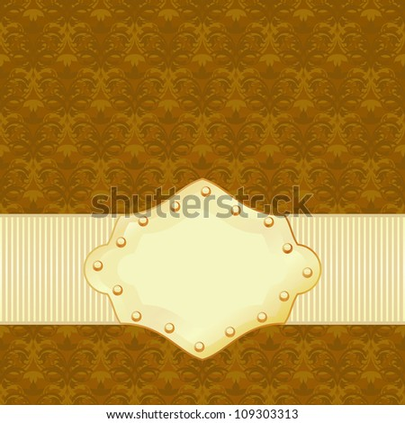 Vintage floral texture with simple golden frame
