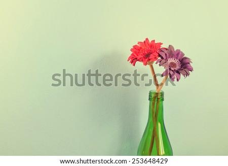 vintage flower home decor on vintage Background.