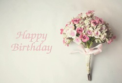 Vintage flowers and card Happy birthday - holiday background, select focus , blur background