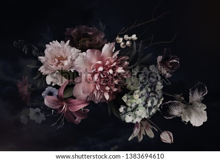 Photo of Vintage flowers. Peonies, tulips, lily, hydrangea on black. Floral background. Baroque style floristic illustration.