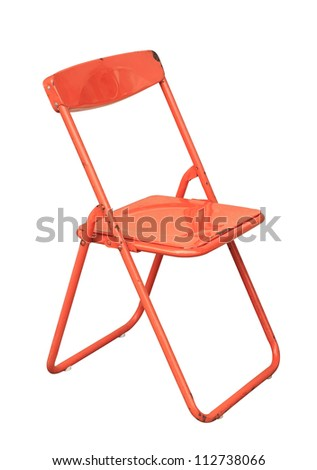 Vintage folding chair isolated on white background