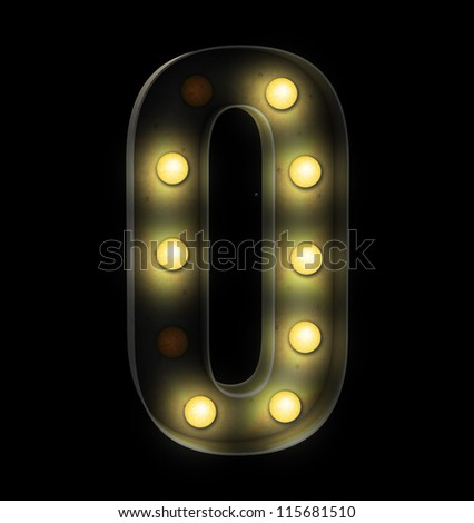 vintage font sign light number zero