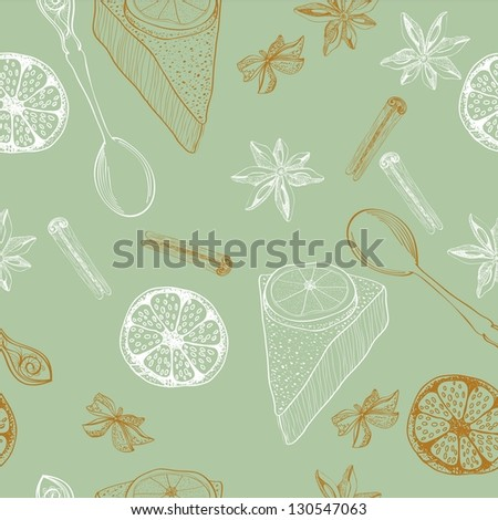 vintage food background, seamless pattern for design