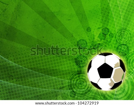 vintage football background with ball over old paper - stock photo