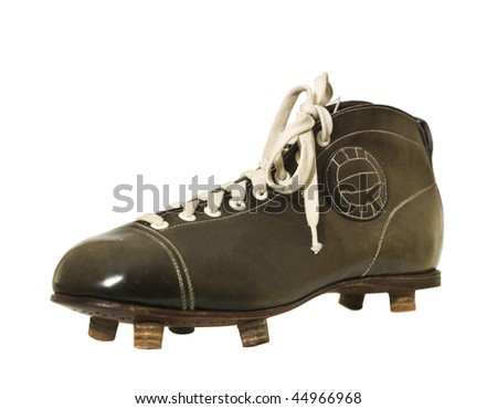 Vintage Football shoe isolated on white background - stock photo