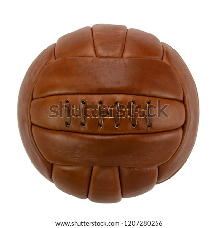 Vintage Football / Soccer Ball Isolated Photograph on White Background