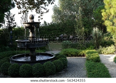 Vintage fountain in the garden