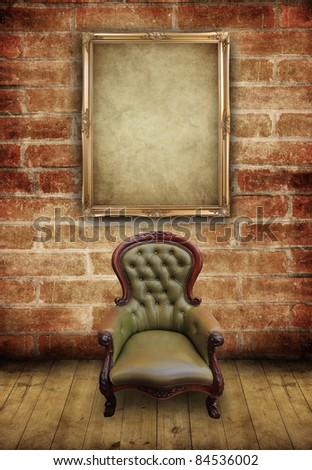 vintage frame and retro leather chair in brick wall room