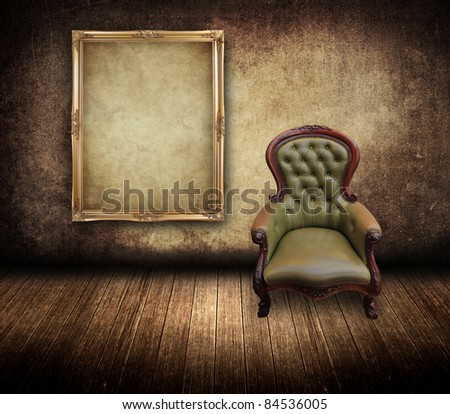 vintage frame and retro leather chair in grunge room