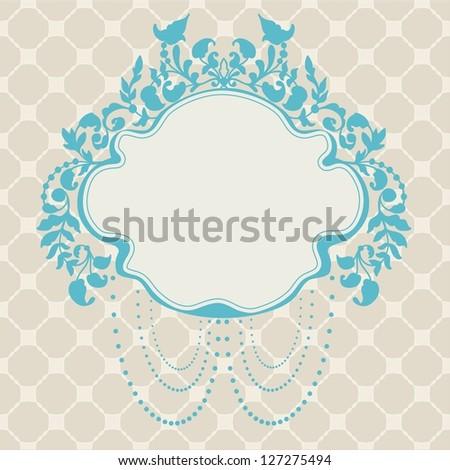 Vintage Frame floral label for design