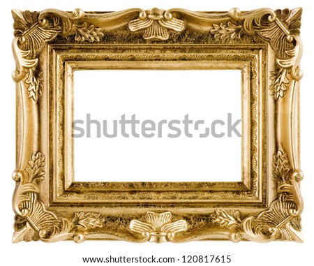 Vintage frame isolated on white background, close-up
