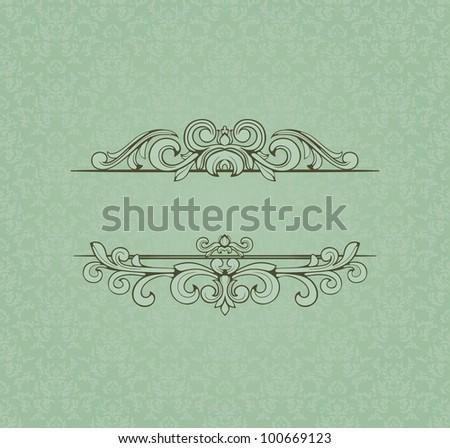 Vintage frame on damask background.
