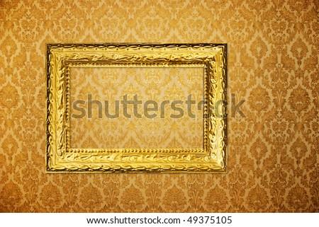Vintage Frame Over Golden Wallpaper Ez Canvas