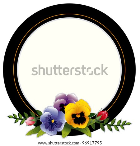 Vintage Frame, Pansies, Roses. Victorian style background, round, Copy space for text, picture.Traditional for gift tag, card, label or announcement for celebrations, holidays, scrapbooks, albums.