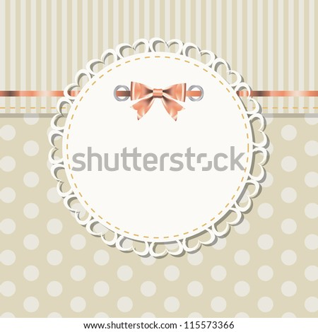 vintage frame with bow  Raster version