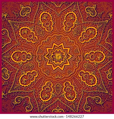 Vintage frame with gold flowers. Indian motif design. Invitation design template. Retro banner design element. Pattern design. Lace ornament. JPG. Illustration.