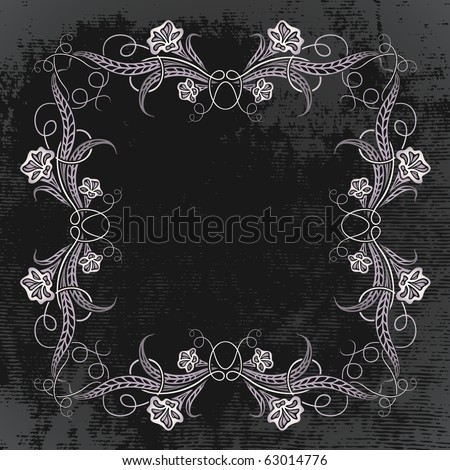 vintage frame with night flowers. raster copy